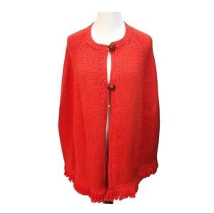 Lucky vintage style wool cape poncho with fringe